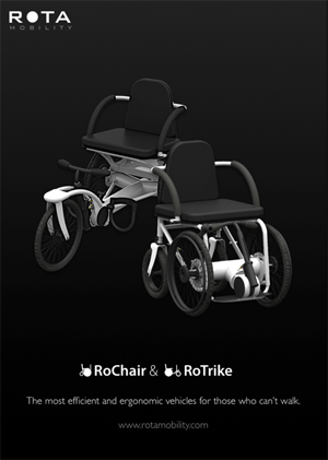 RoTrike and RoChair innovative self-propelled wheelchairs