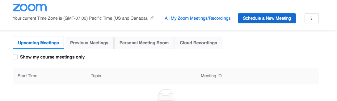 Schedule a new Zoom meeting