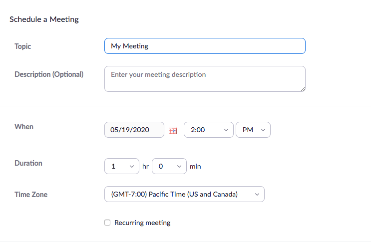 Zoom Meeting option