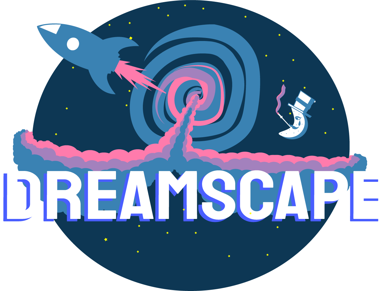 dreamscape logo with rocket ship