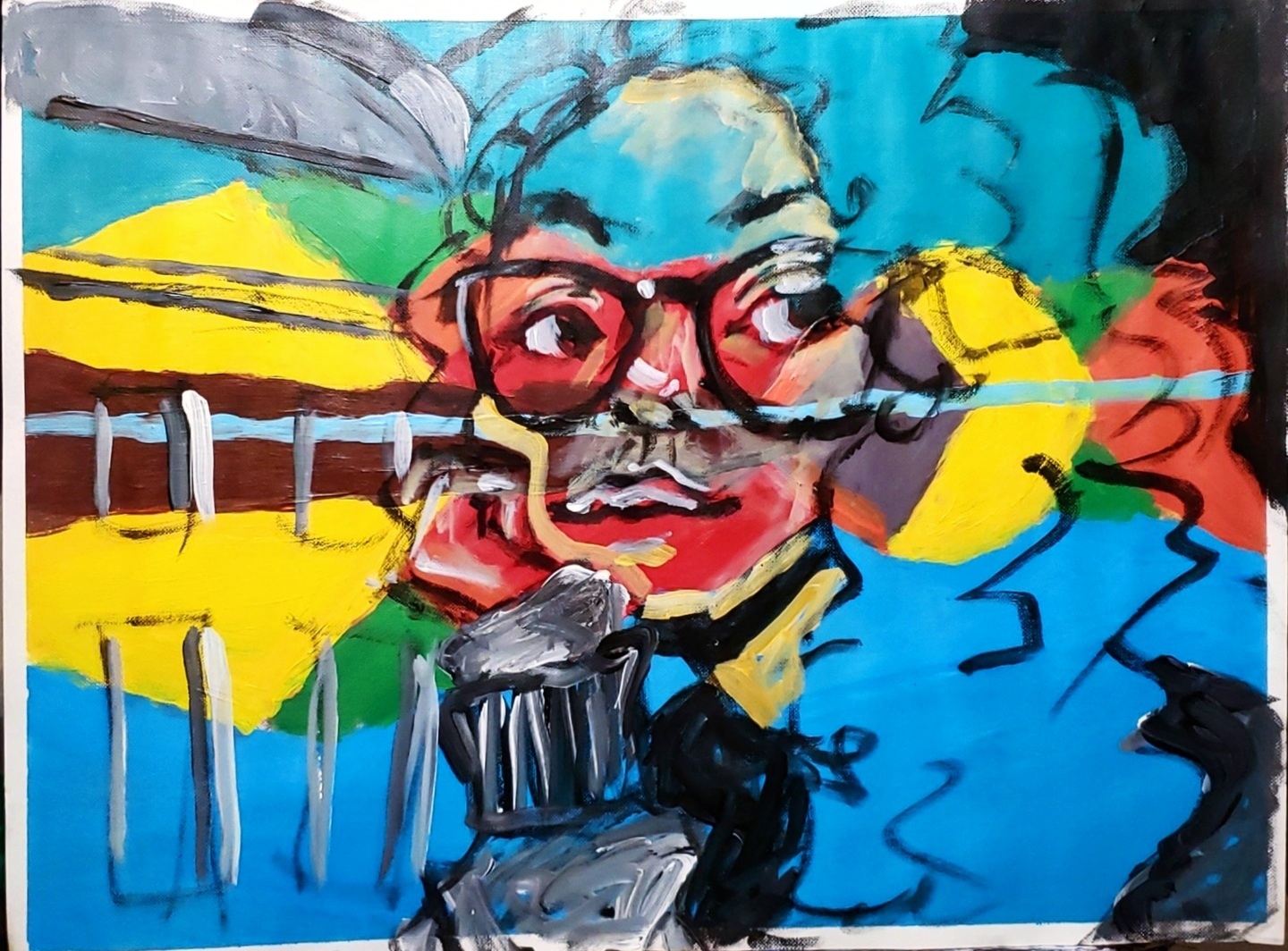 abstracted portrait with yellow and blue