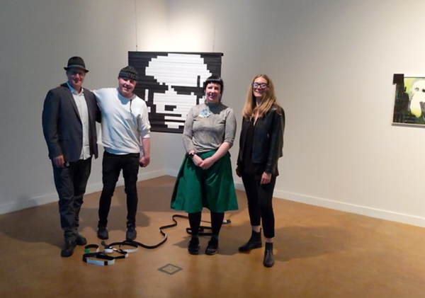 Artist Rosa Menkman with two Digital Media Art professors