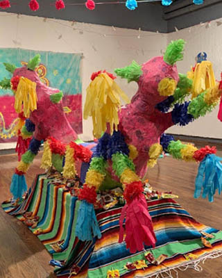 color pinata sculpture