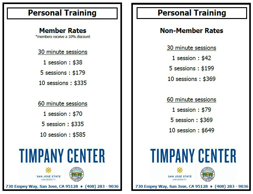 personal training flyer with information about member and non member rates