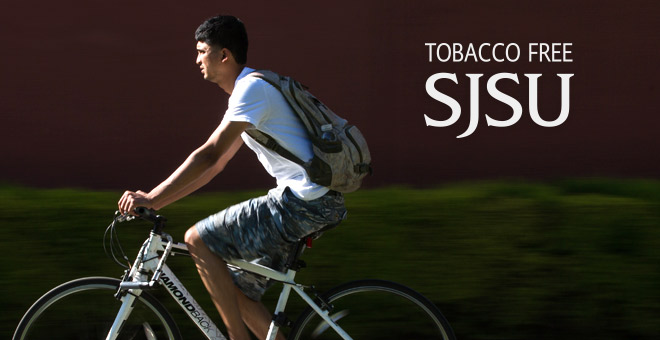 Tobacco Free SJSU: Student breathing clean air while riding his bike on campus.