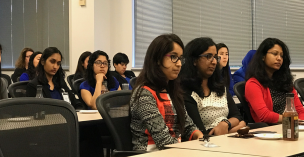 Image of students from SJSU listening to Intel panel at the Intel Field Trip on April 28, 2017.