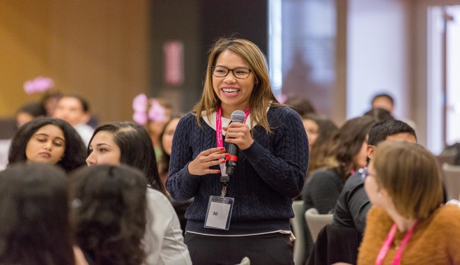 Image of a student speaking at the WiE Conference.