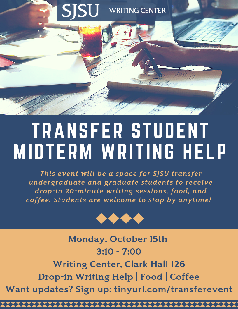 Transfer Student Midterm Writing Help Flier
